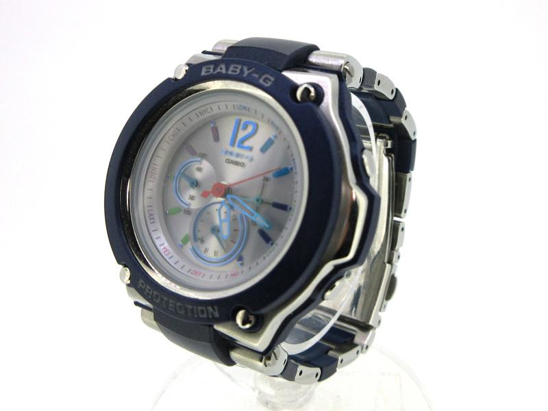 【中古】CASIO/カシオ Baby-G/ベビージー 腕時計 BGA-1400C ホワイト×ネイビー ソーラー その他ベルト