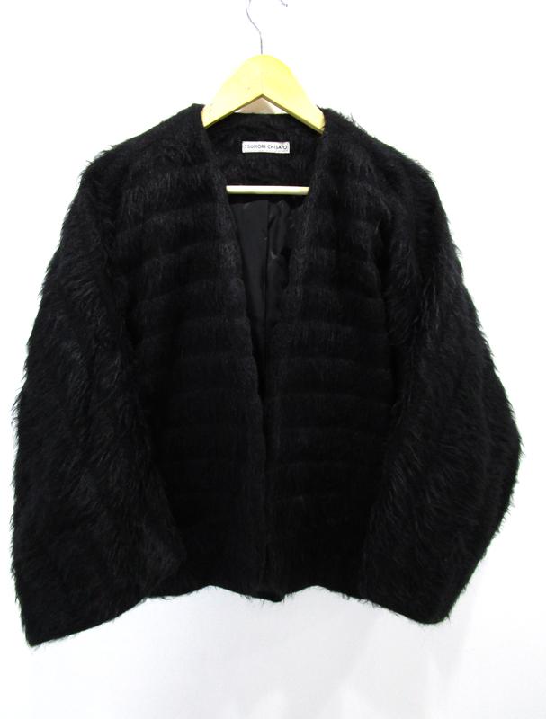 【中古】TSUMORI CHISATO|ツモリチサト アルパカボーダーシャギー コート TC23FD240 ボタンレス ジャケット サイズ:2 カラー:ブラック / カジュアル
