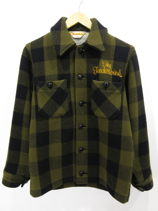 【中古】TENDERLOIN/テンダーロイン チェック柄 ウールシャツ サイズ:36 カラー:グリーン系 / ルード