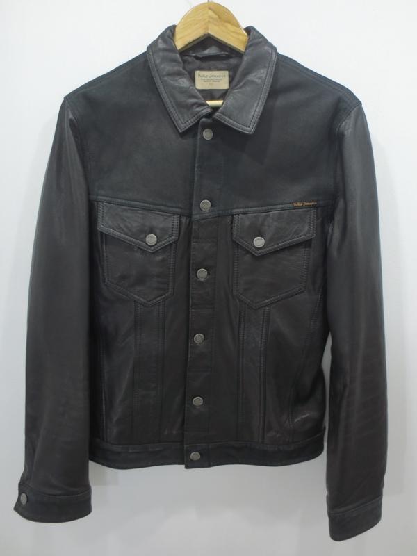 【中古】Nudie Jeans/ヌーディージーンズ レザージャケット Gジャン サイズ:M カラー:ブラック / インポート