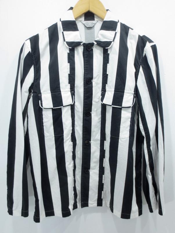 【中古】UNUSED/アンユーズド ストライプシャツ ジャケット サイズ:2 カラー:ブラック×ホワイト / ドメス