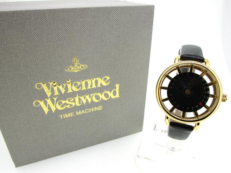 【中古】Vivienne Westwood/ヴィヴィアンウエストウッド タイムマシン 腕時計 VV055BKBK ブラック×ブラック クォーツ 革(レザー)ベルト