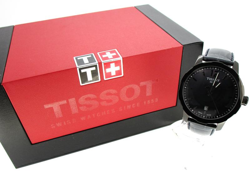 【中古】TISSOT/ティソ Quickster 腕時計 T095.410.36.127.00 ブラック系×ブラック クォーツ 革(レザー)ベルト