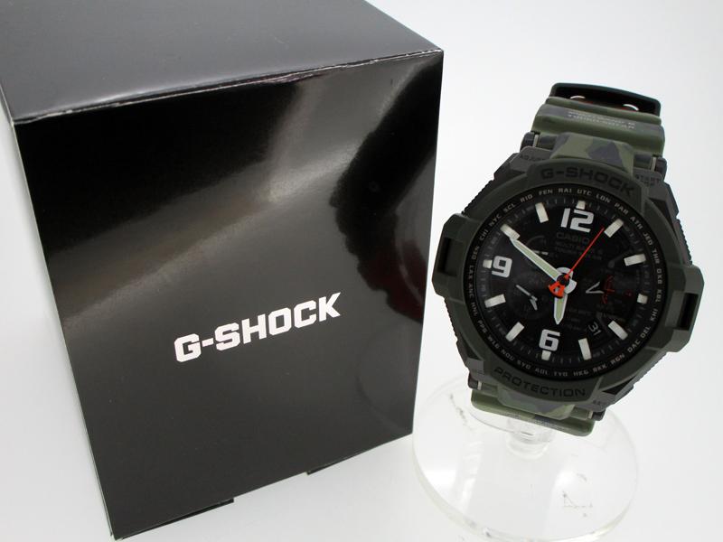 【中古】CASIO/カシオ GRAVITYMASTER Master in OLIVE DRABG-SHOCK 腕時計 GW-4000SC ブラック系×カモ柄 ソーラー 樹脂バンド