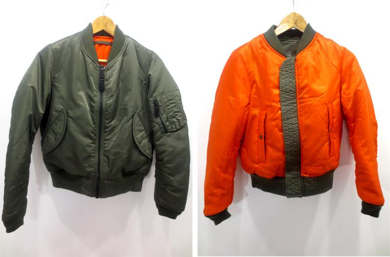 【中古】moussy×AVIREX/マウジー×アヴィレックス MA-1 ジャケット サイズ:1 カラー:カーキ / ギャル系