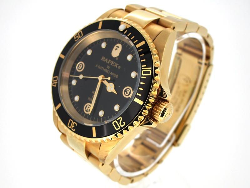 【中古】A BATHING APE/ア ベイシングエイプ BAPEX 腕時計 ブラック×ゴールド 自動巻き(オートマチック) その他ベルト