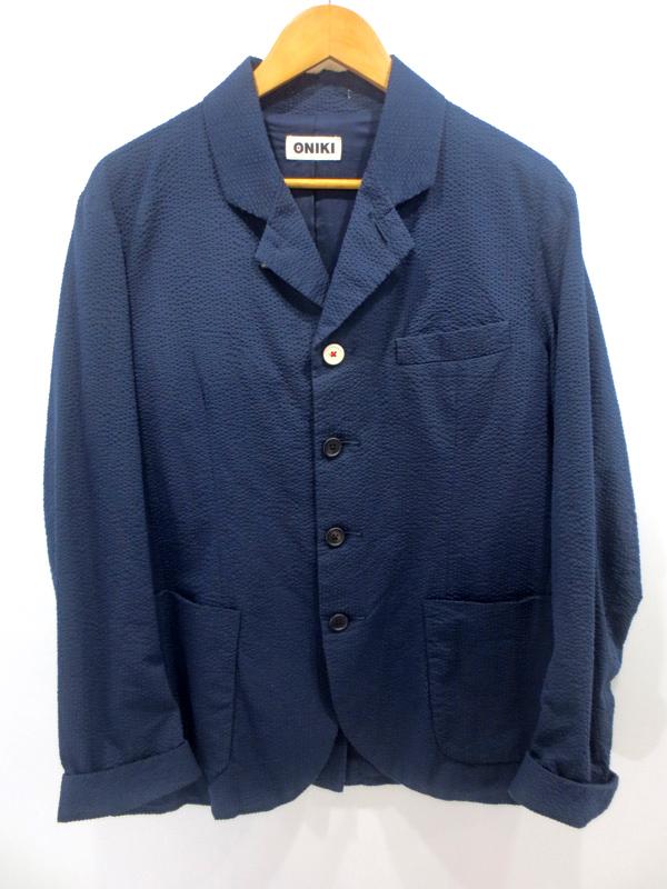 【中古】ONIKI/オニキ Seersucker テーラードジャケット サイズ:L カラー:ネイビー