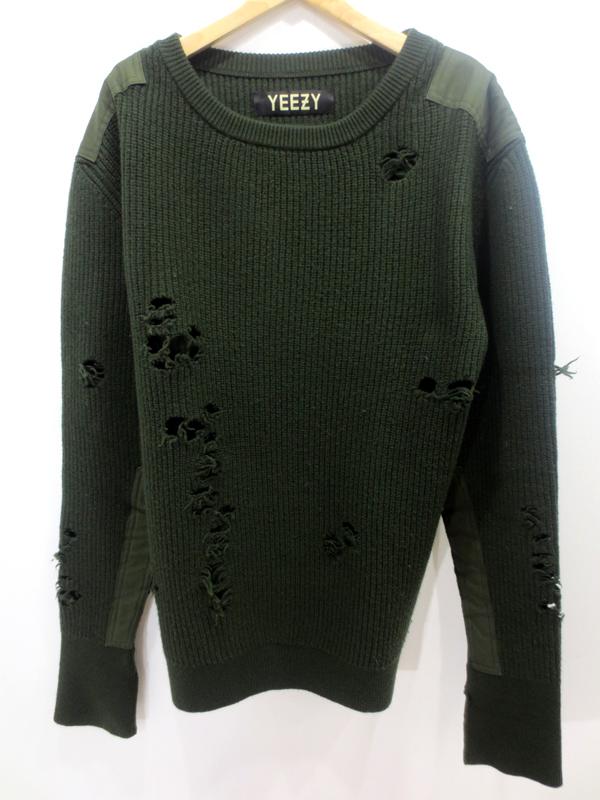 【中古】YEEZY SEASON/イージーシーズン1 Destroyed Sweater セーター サイズ:M カラー:カーキ【f108】