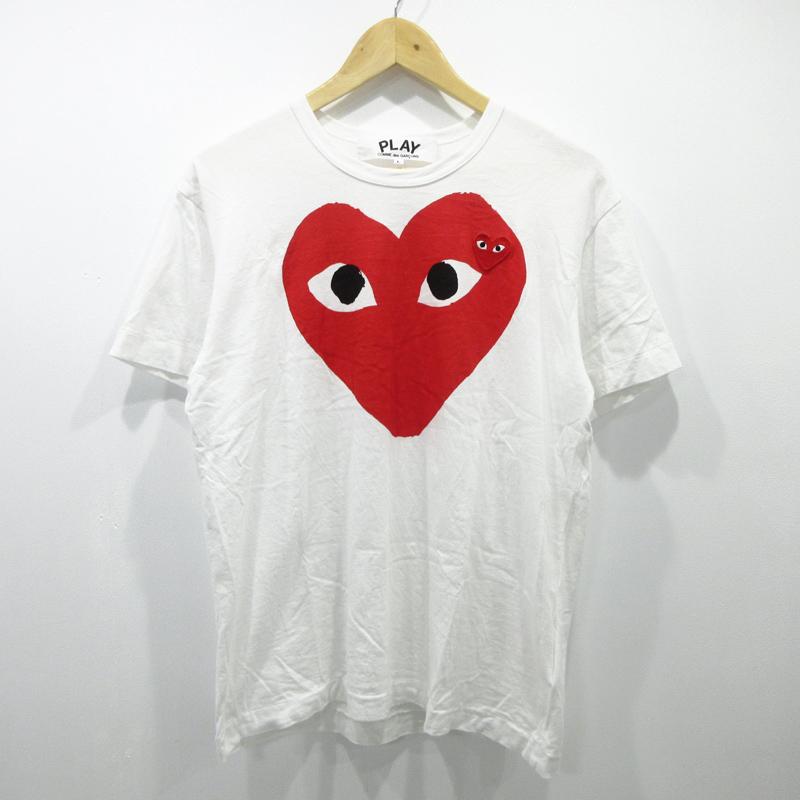 【中古】PLAY COMME des GARCONS/プレイコムデギャルソン 半袖Tシャツ サイズ:L カラー:ホワイト / ドメス【f108】