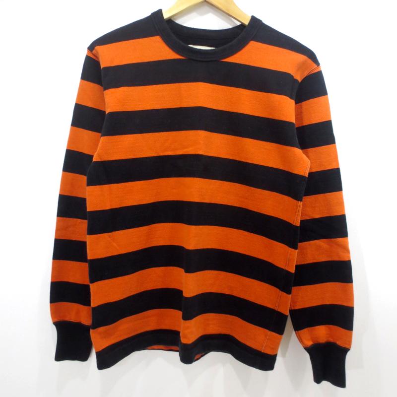 【中古】WEST RIDE/ウエストライド ヘビーボーダー 長袖Tシャツ サイズ:38 カラー:オレンジ×ブラック / ドメス【f104】