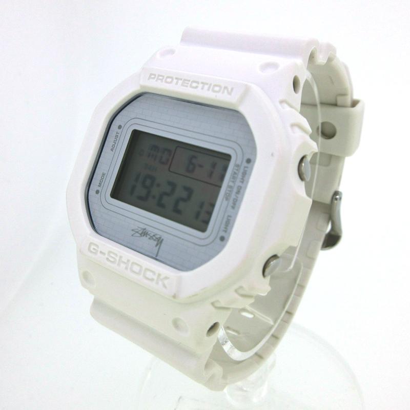 【中古】CASIO×STUSSY/カシオ×ステューシー コラボ G-SHOCK 腕時計 DW-5600VT ホワイト クォーツ 樹脂バンド【f131】