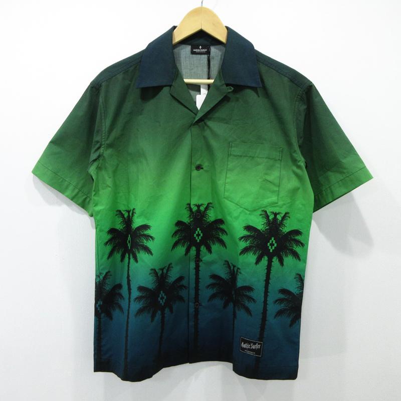 【中古】MARCELO BURLON/マルセロバーロン GREEN PALM SHIRT サイズ:XS カラー:グリーン系【f108】