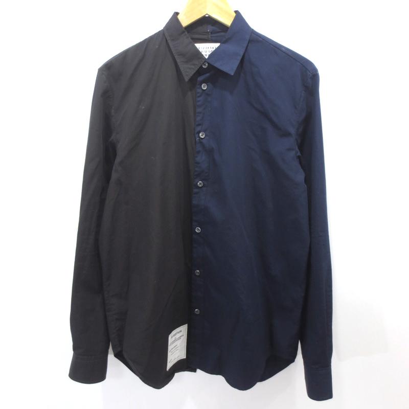 【中古】Maison Martin Margiela/メゾンマルタンマルジェラ 長袖シャツ サイズ:38 カラー:ブラック×ネイビー / インポート【f108】