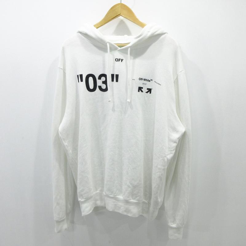 【中古】OFF-WHITE|オフホワイト For All 03 BACK ARROW HOODIE プルオーバーパーカー サイズ:L カラー:ホワイト【f108】