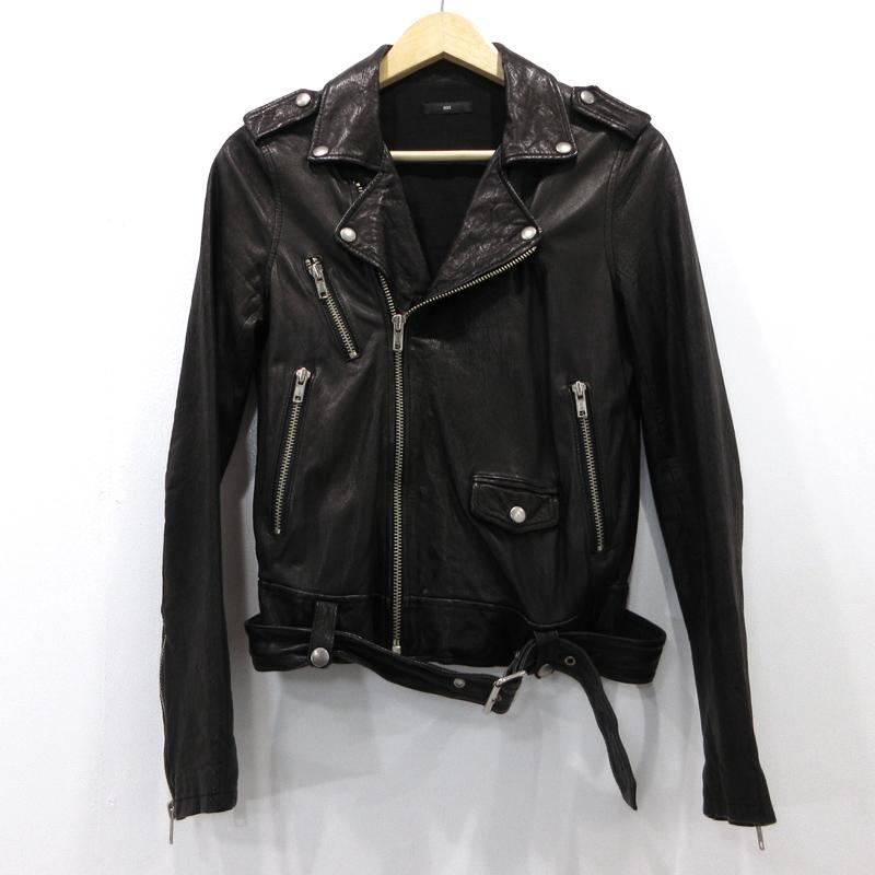 【中古】603|ロクマルサン 羊革 レザージャケット サイズ:S カラー:ブラック【f096】
