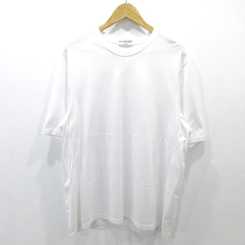 【中古】BALENCIAGA|バレンシアガ クルーネック Tシャツ 半袖 TQK19-9000 サイズ:M カラー:ホワイト【f108】
