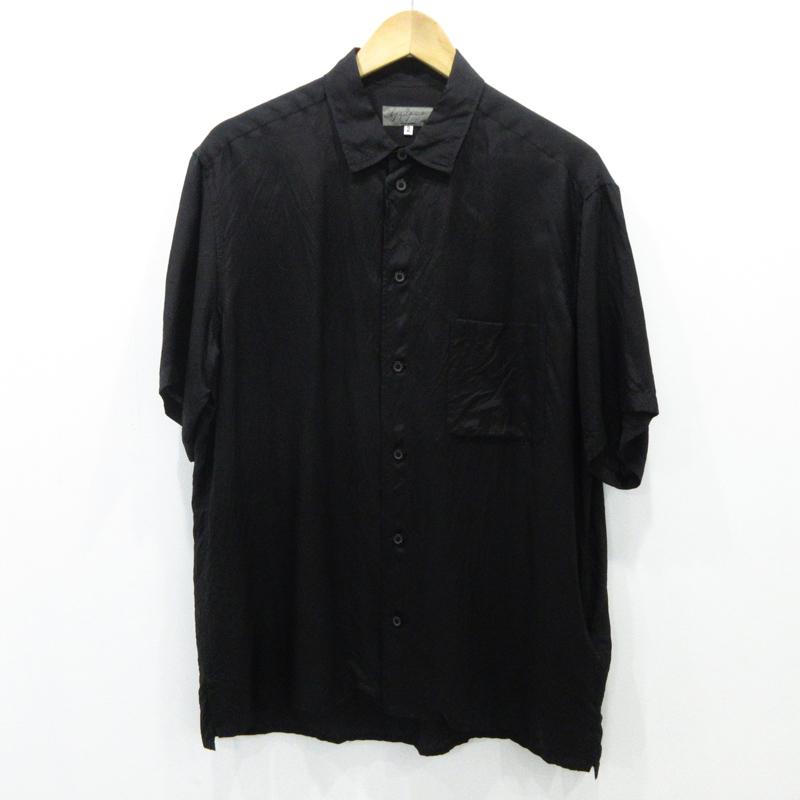 【中古】Yohji Yamamoto|ヨウジヤマモト POUR HOMME 18SS キュプラ シワ加工 半袖 シャツ HW-B73-238 サイズ:2 カラー:ブラック【f108】