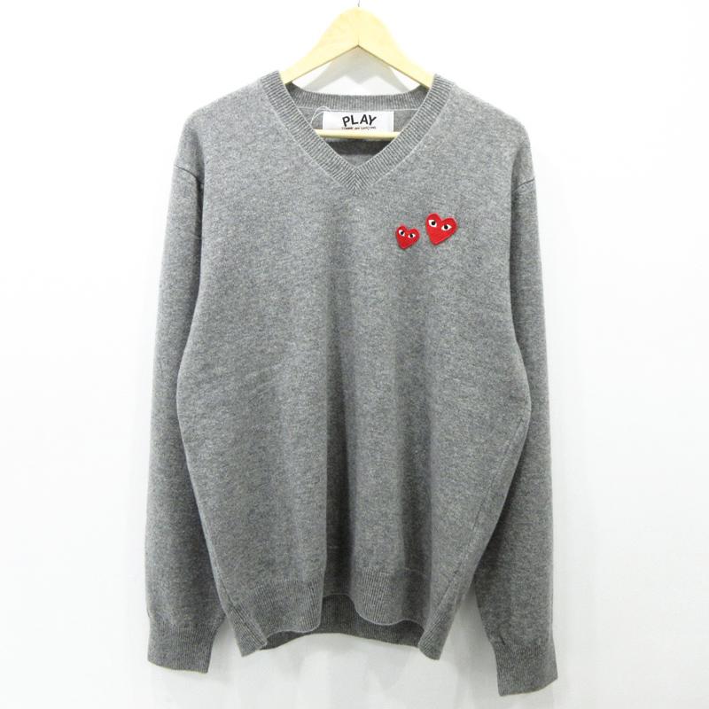 【期間限定】ポイント20倍【中古】PLAY COMME des GARCONS|プレイコムデギャルソン Double Heart Sweater セーター 長袖 AZ-N070 サイズ:XL カラー:グレー【f108】
