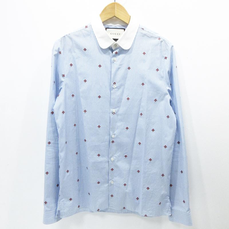 【期間限定】ポイント10倍【中古】GUCCI|グッチ Bee&ストライプシャツ サイズ:39 カラー:ブルー系【f135】