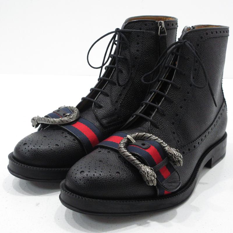 【中古】GUCCI|グッチ ウェブ付き レザー ブローグブーツ 496250 サイズ:7 カラー:ブラック【f135】