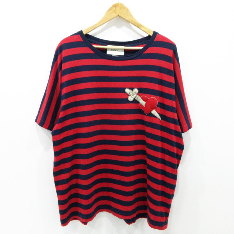 【中古】GUCCI グッチ ハートワッペンボーダー 半袖 Tシャツ 462013 サイズ:M【f135】