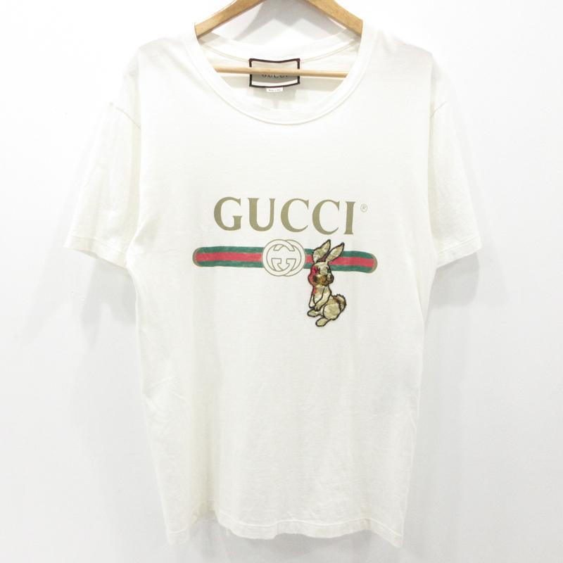 【中古】GUCCI|グッチ ダメージ加工 ラビットワッペン ロゴ Tシャツ サイズ:XS【f135】