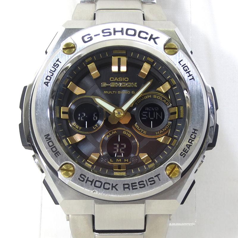 202103pd 中古 CASIO カシオ 送料無料 新品 期間限定お試し価格 G-SHOCK ジーショック GST-W310D-1A9 G-STEEL ジースティール f131 シルバー×ゴールド×ブラック 電波ソーラー 腕時計 アナデジ
