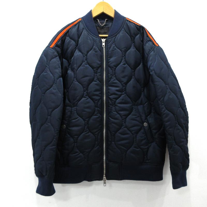 【中古】DIESEL BLACK GOLD ディーゼル キルティングボンバージャケット フライトジャケット サイズ:48 カラー:ネイビー / インポート【f094】