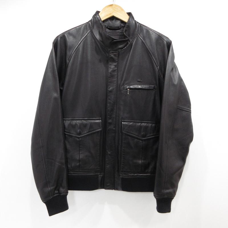 【中古】LACOSTE|ラコステ 羊革 ラムレザーJKT サイズ:4 カラー:ブラック【f094】