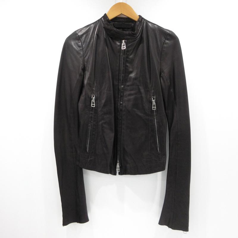 【中古】EKAM エカム 羊革 レザー シングルライダースジャケット サイズ:S カラー:ブラック / ドメス【f096】