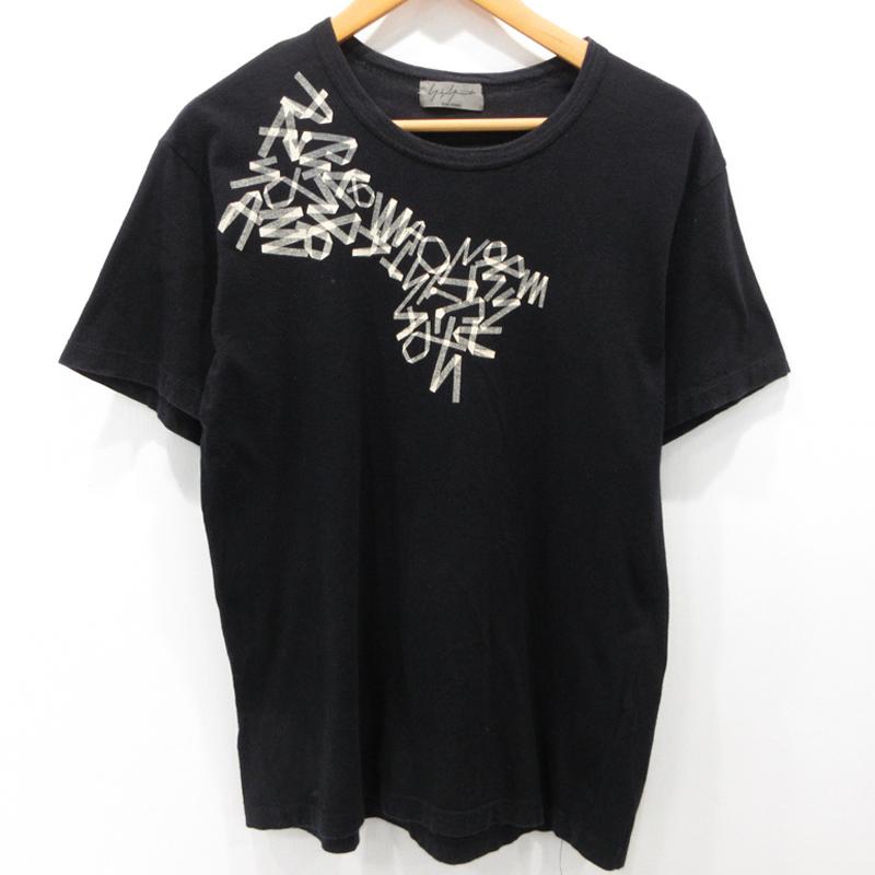 中古 Yohji お歳暮 Yamamoto 人気ショップが最安値挑戦 POUR HOMME ヨウジヤマモトプールオム 英字テーピングプリントTシャツ カラー:ブラック 半袖 gwpu f108 HY-T04-073 サイズ:3