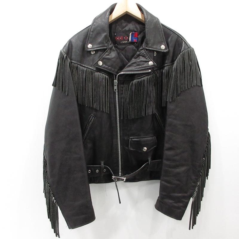 【中古】SCHOTT ショット DUR O JAC フリンジライダースジャケット サイズ:38 カラー:ブラック / アメカジ【f093】