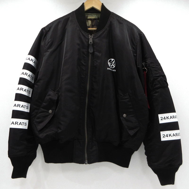 【中古】24karats×ALPHA|24カラッツ×アルファ ボンバー MA-1ジャケット サイズ:L カラー:ブラック / ドメス【f096】