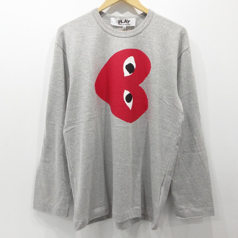 【期間限定】ポイント20倍【中古】PLAY COMME des GARCONS|プレイコムデギャルソン Tシャツ 長袖 AZ-T268 サイズ:XL カラー:グレー【f108】