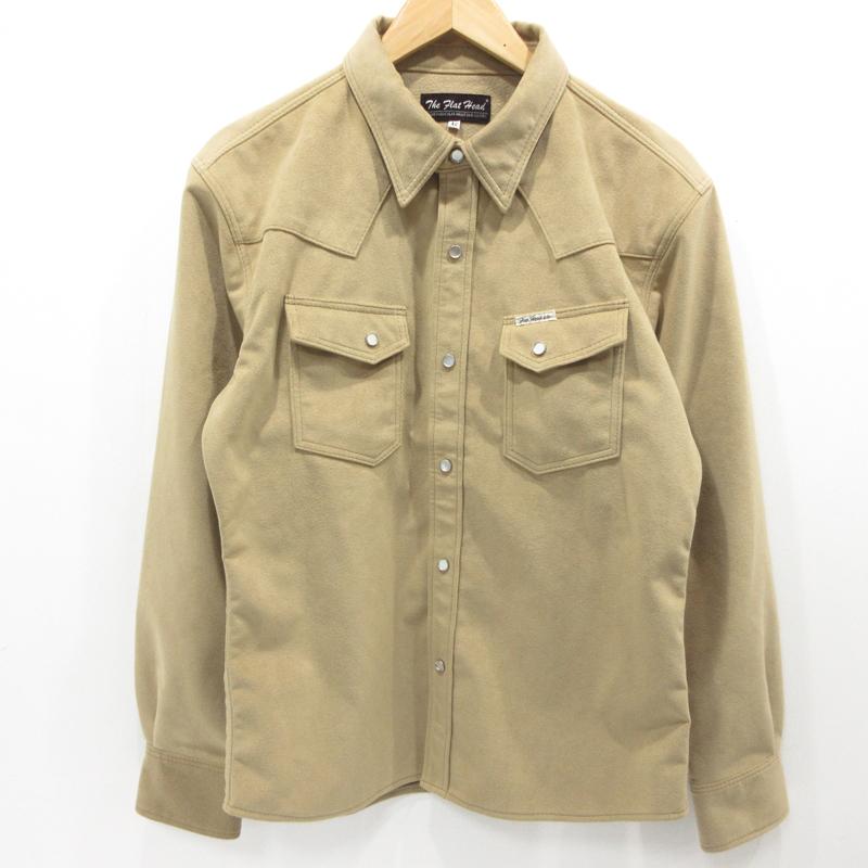 【中古】THE FLAT HEAD|フラットヘッド ウルトラスエードシャツ 長袖 サイズ:42 カラー:ベージュ / ドメス【f101】