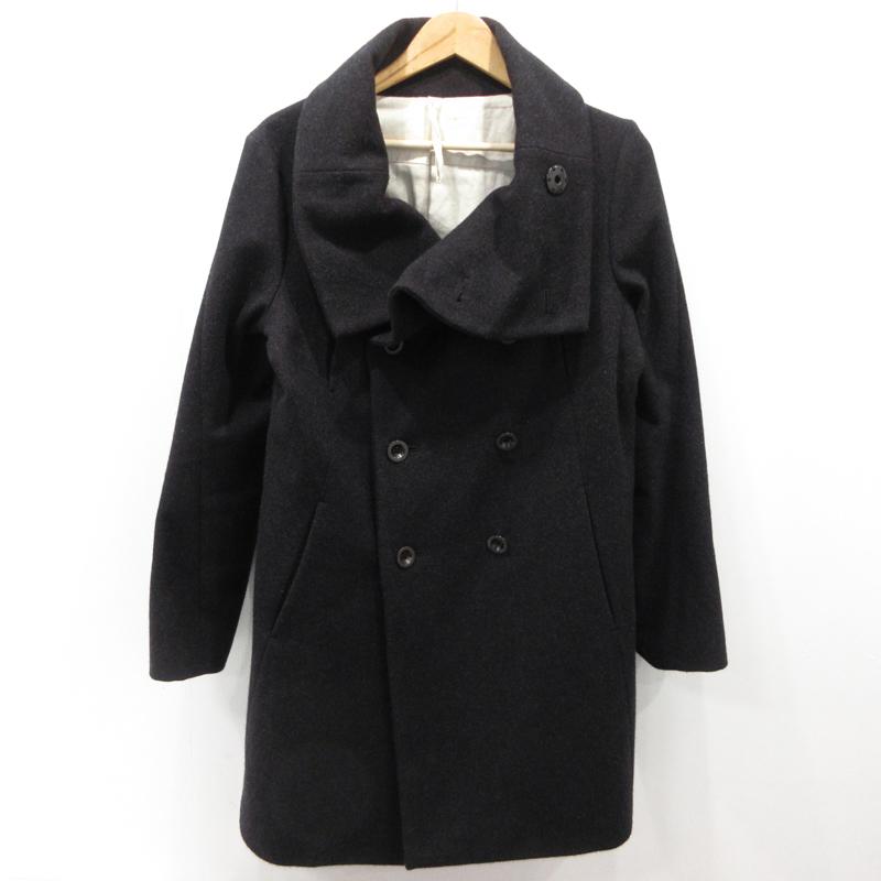 【期間限定】ポイント20倍【中古】The Viridi-anne|ザヴィリジアン メルトンハイネックコート VI-1954-06 サイズ:2 カラー:ブラック / ドメス【f096】