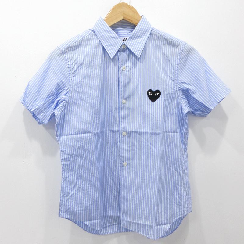 【中古】PLAY COMME des GARCONS|プレイコムデギャルソン ストライプ シャツ 半袖 AZ-B021 サイズ:M カラー:ブルー×ホワイト / カジュアル【f111】