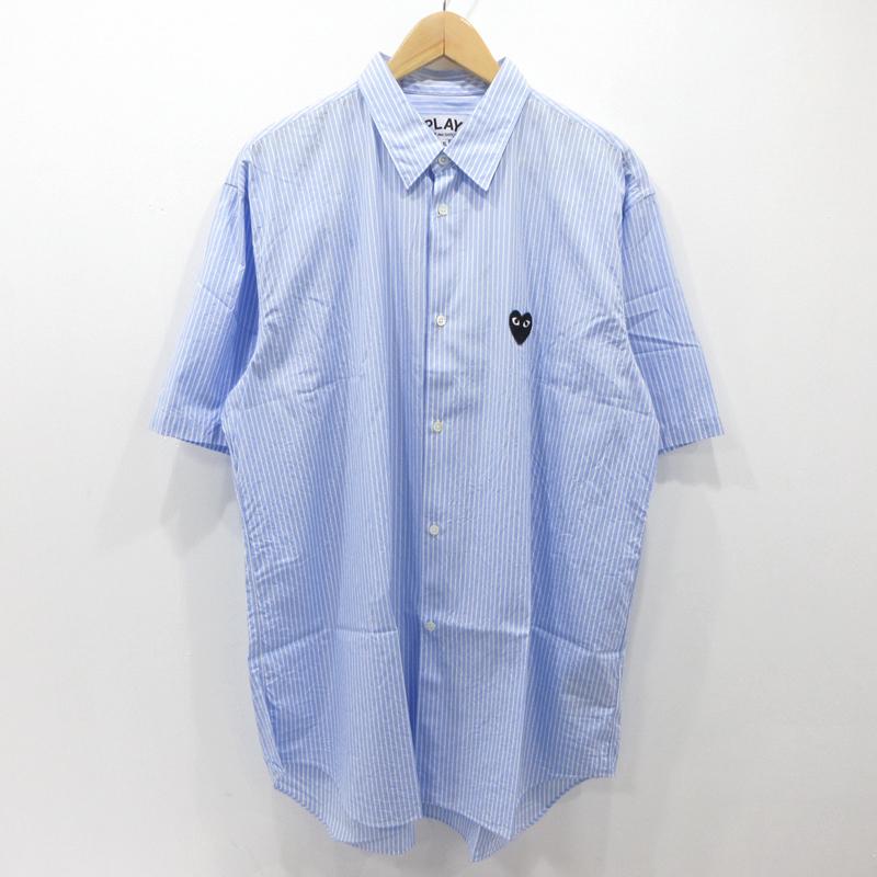 【中古】PLAY COMME des GARCONS プレイコムデギャルソン ストライプ シャツ 半袖 AZ-B022 サイズ:XXL カラー:ブルー×ホワイト【f108】
