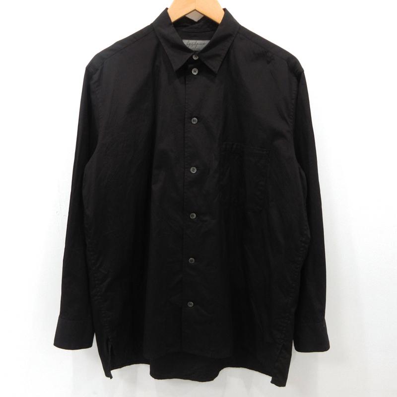 【中古】Yohji Yamamoto ヨウジヤマモト ブロードシャツ 長袖 HW-B71-039 サイズ:2 カラー:ブラック【f108】