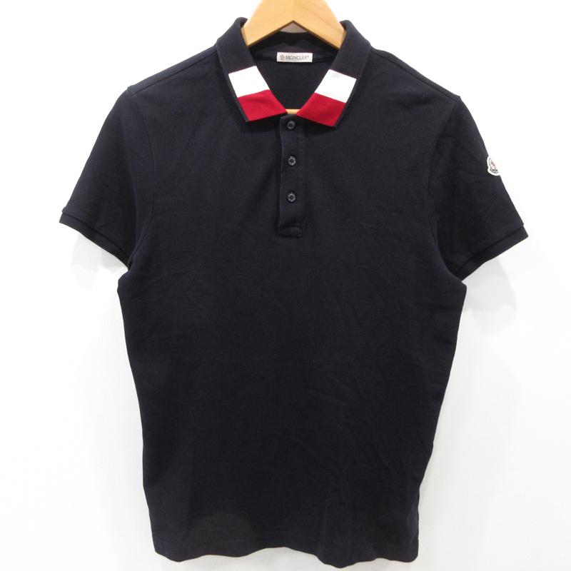 【中古】MONCLER|モンクレール ポロシャツ 半袖 サイズ:S カラー:ネイビー【f108】