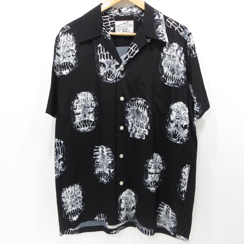 【中古】WACKO MARIA|ワコマリア オープンカラーレーヨンシャツ 半袖 19SS サイズ:L カラー:ブラック / ルード【f104】