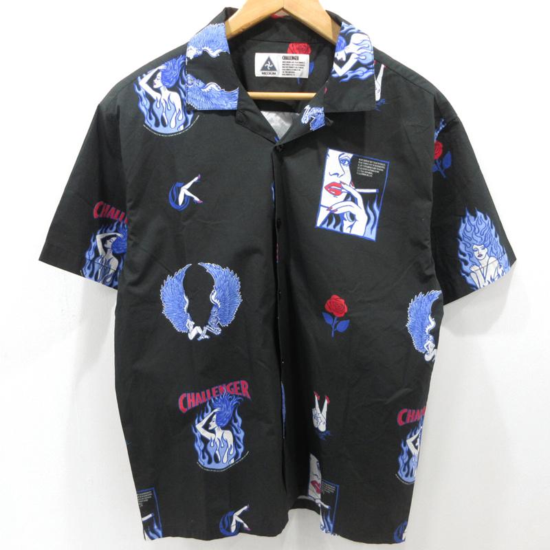 【中古】CHALLENGER|チャレンジャー FIRE LADY SHIRT オープンカラーシャツ 半袖 19SS CLG-SH 019-006 サイズ:M カラー:ブラック / ストリート【f103】