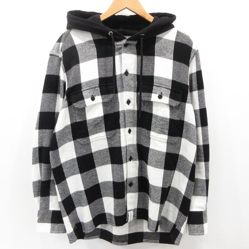 【中古】DESCENDANT|ディセンダント フード付きチェックシャツ 長袖 ホワイト×ブラック サイズ:2 / ストリート【f103】