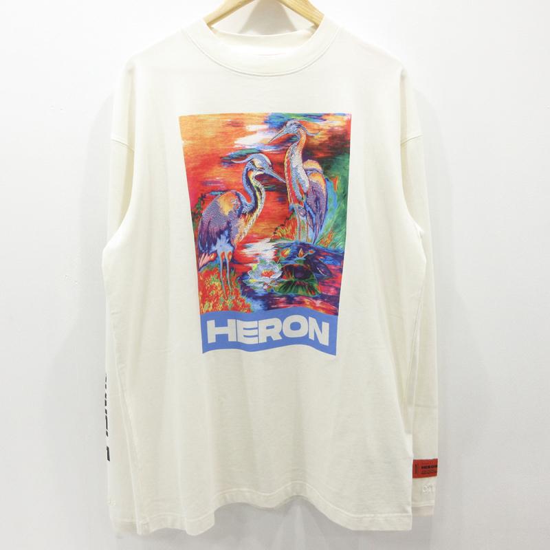 【中古】HERON PRESTON|ヘロンプレストン プリント 刺繍 クルーネックTシャツ 長袖 20SS ホワイト サイズ:M【f108】