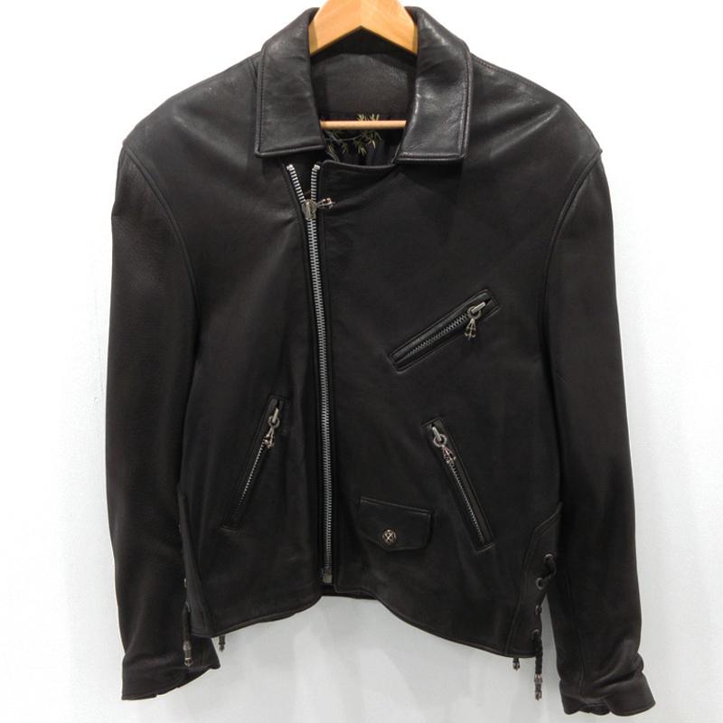 【中古】A&G エーアンドジー ダブルライダースジャケット レザージャケット ブラック サイズ:S / インポート【f094】