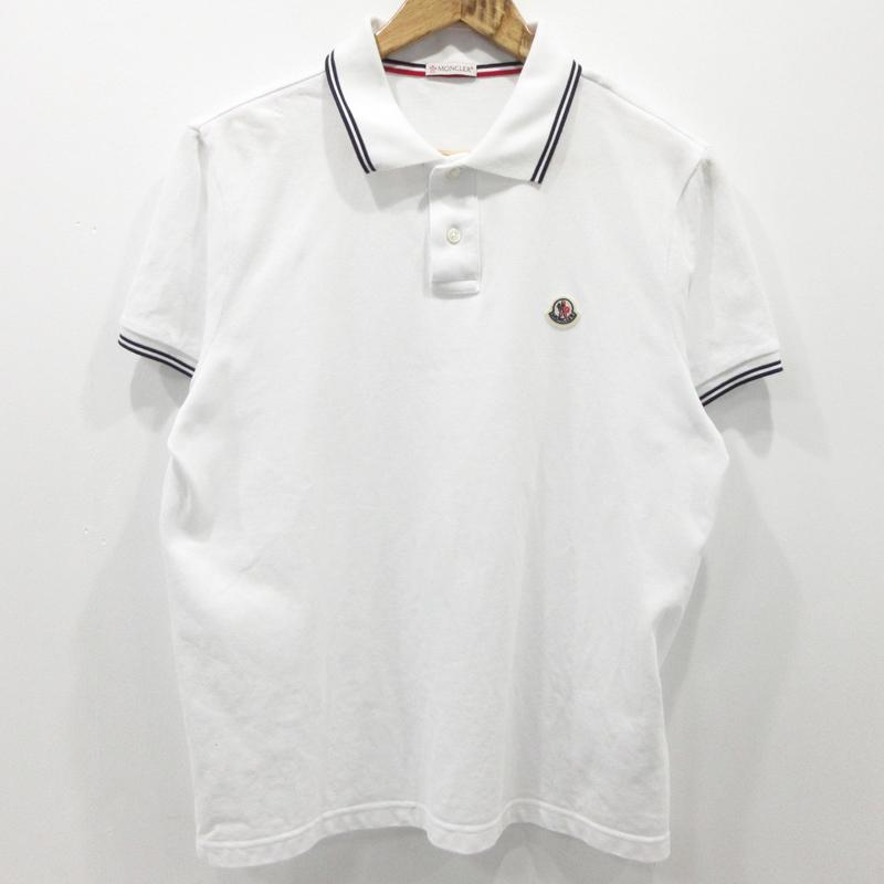 【中古】MONCLER|モンクレール ポロシャツ 半袖 2018SS ホワイト サイズ:M【f108】