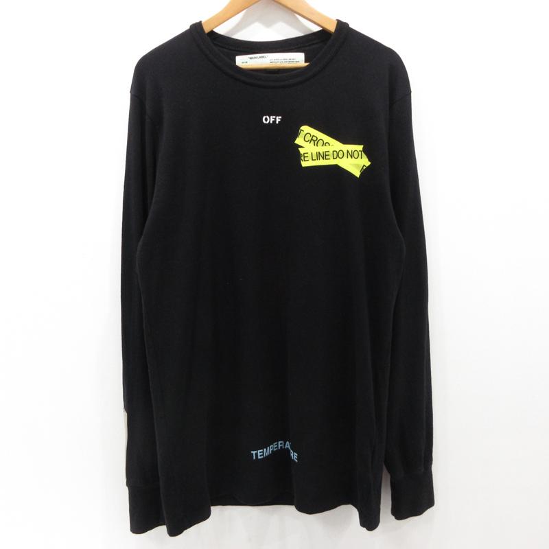 【中古】OFF-WHITE|オフホワイト ファイヤーテープTシャツ 長袖 ブラック サイズ:L【f108】