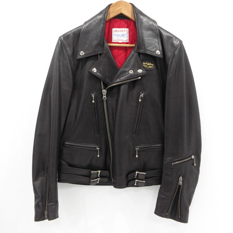 【期間限定】ポイント20倍【中古】Lewis Leathers|ルイスレザー ダブルライダースジャケット レザージャケット Real leather サイズ:36 カラー:ブラック / アメカジ【f093】