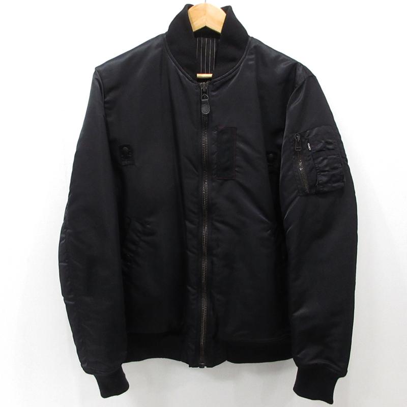 【中古】CLUCT|クラクト リバーシブル フライトジャケット サイズ:L カラー:ブラック / ルード【f096】