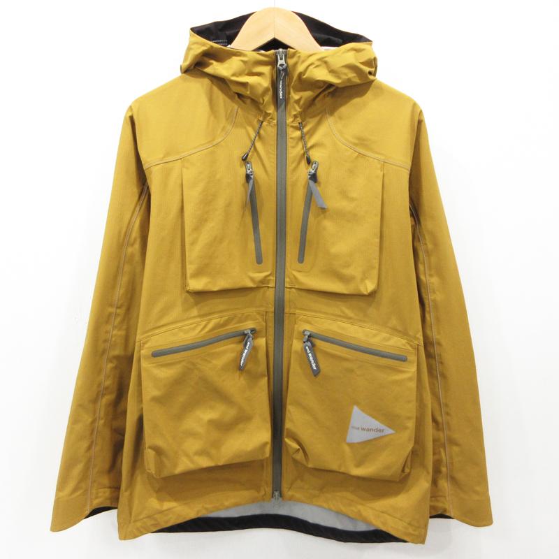 【中古】and wander|アンドワンダー e vent dropping pocket rain jacket イーベントドロッピングポケットレインジャケット ナイロンジャケット AW91-FT001 サイズ:3 カラー:イエロー系 / アウトドア【f092】